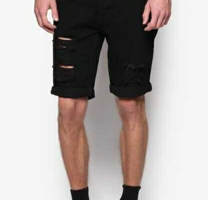 Black Denim ripped shorts good example
