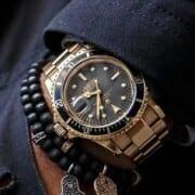 Good combo accessory on wrist.