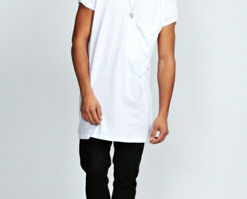 Good example of men's white longline t'shirt.